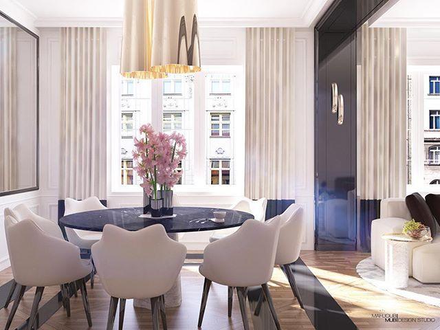 Interior design - Mahjoub Mub Parisian apartment Black white marble