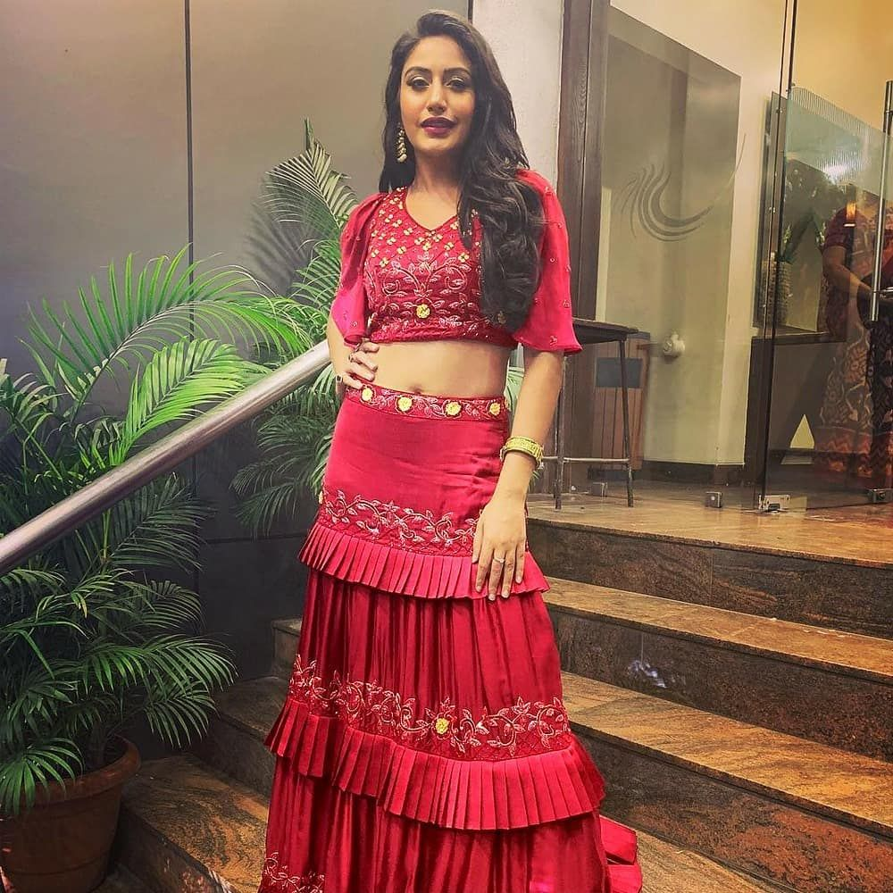 c59259f8a9bfdd Beautiful red layer lengha for just INR 2800 ONLY/- Lehenga  fabric:-satin(semi stitch)with fusion + cancan net Lehenga Colour:-maroon…
