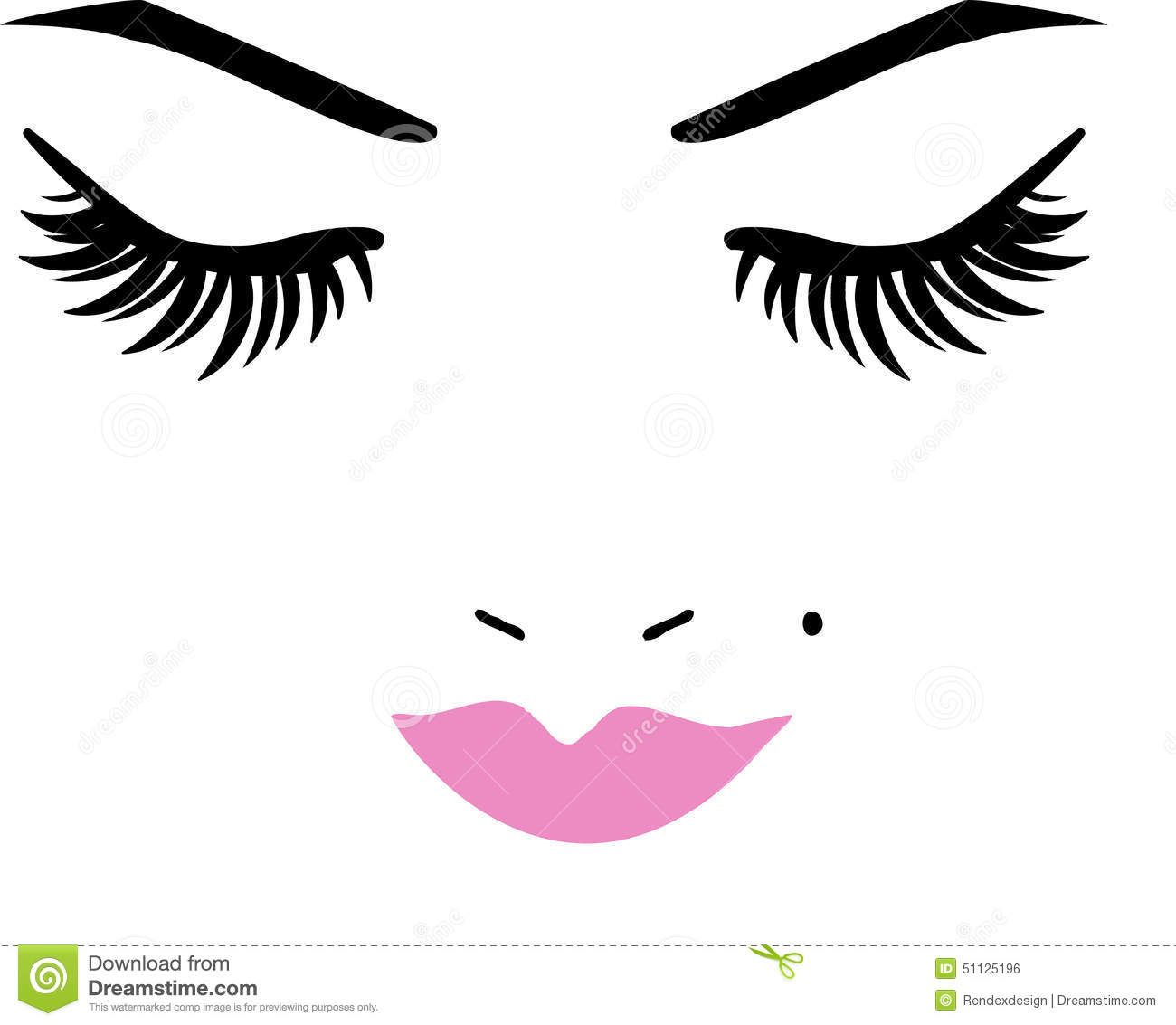 Closed Eyes And Lips Stock Vector - Image: 51125196 | Hair ...