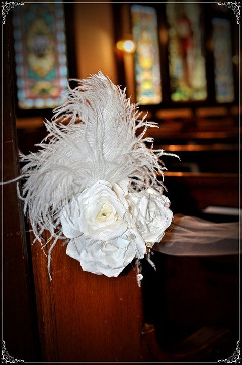 Feathered wedding decorations diy flowers pew decorations and feathered wedding decorations church pew junglespirit Gallery