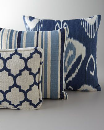 Pillows In Shades Of Blue Neiman Marcus Blue White Pillows