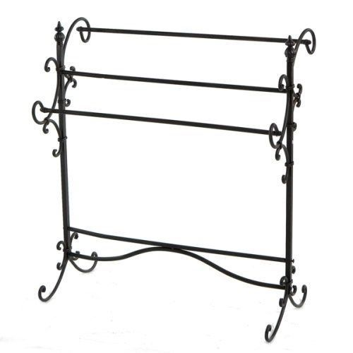 Scrolled Iron Quilt Rack Blanket Holder Display With 3 Hanging Bars By SEI  #SEI