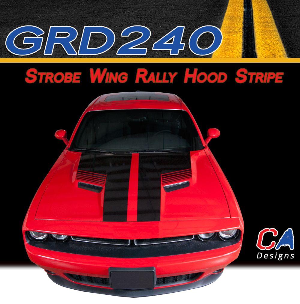 2015-2018 Dodge Challenger Strobe Wing Rally Hood Vinyl