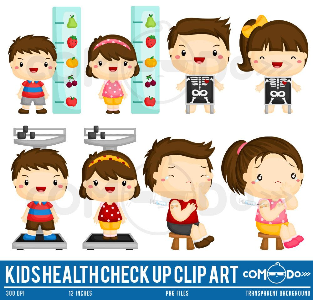 Kids And Health Checkup Clipart Doctor And Medicine Clip Art Etsy Kids Health Clip Art Health Check