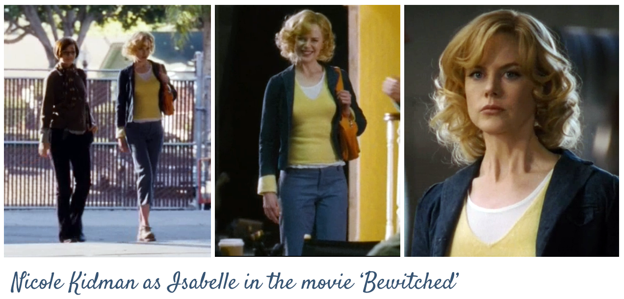 I loved almost all of NK's outfits in the movie Bewitched. She wore a lot of interesting layers and casual clothes with pops of color. This is one example. If I had to describe in the PSC world...maybe Natural + High Spirited.