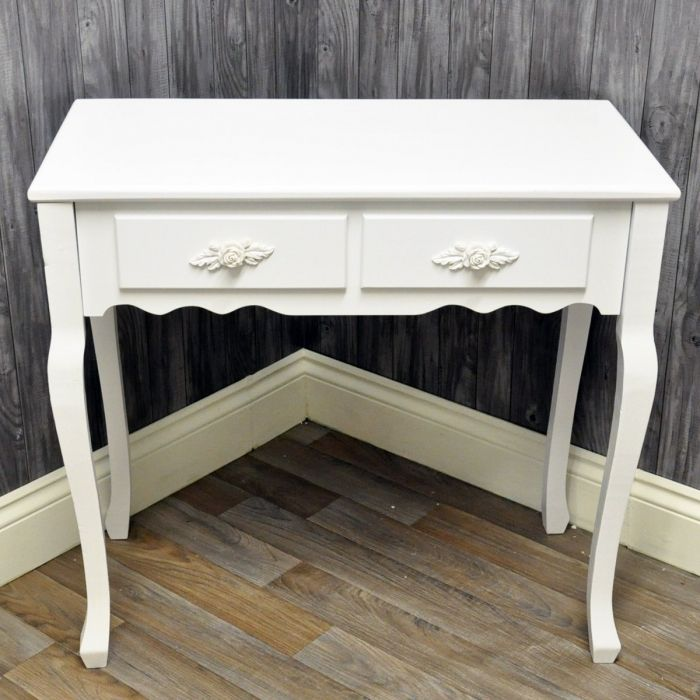 French Vintage Style White Two Drawer Wooden Hall Console Table