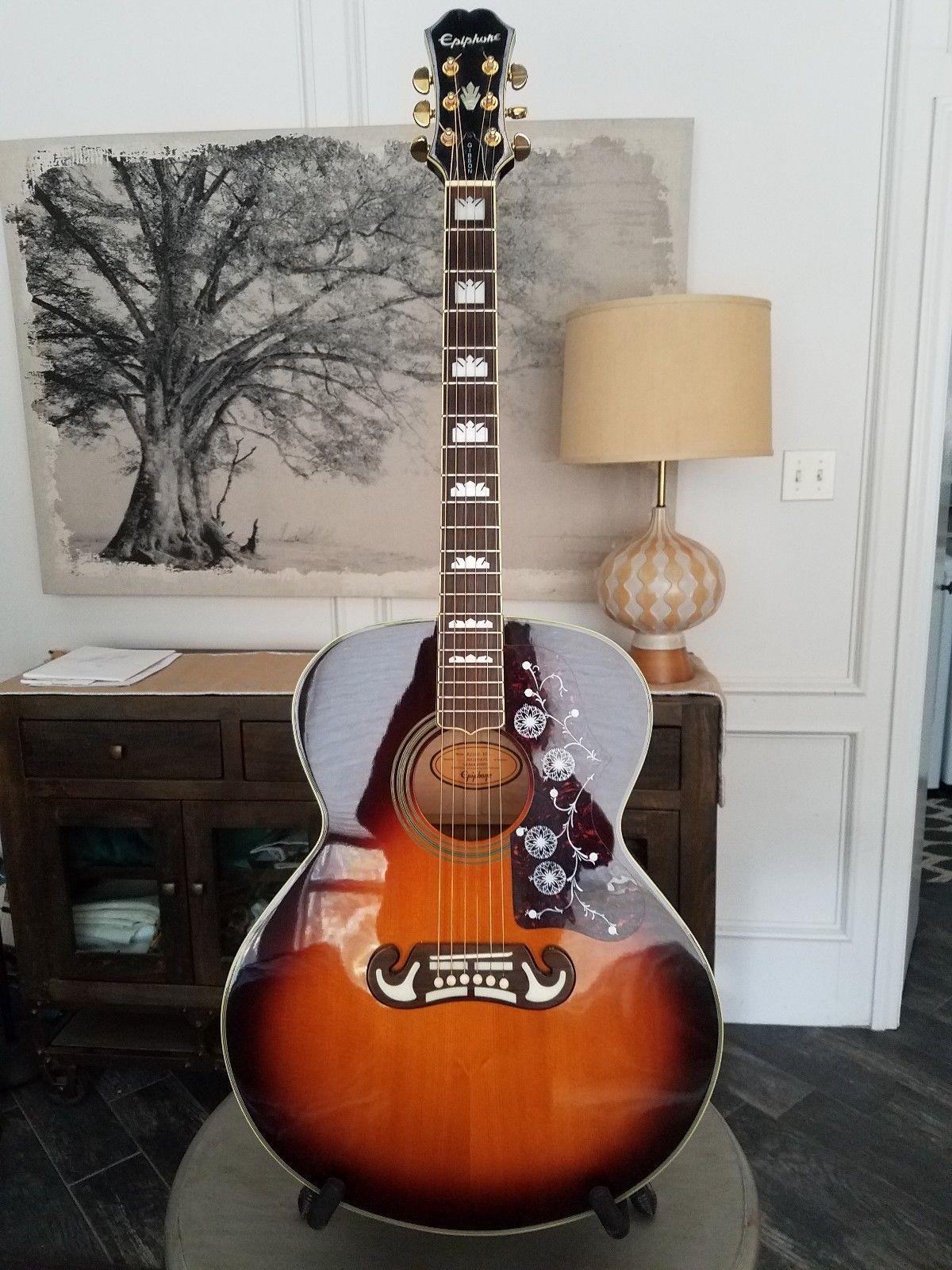 Guitar Epiphone Gibson Ej200 Vs Jumbo Sunburst Acoustic Guitar Excellent Please Retweet Guitar Acoustic Guitar Epiphone