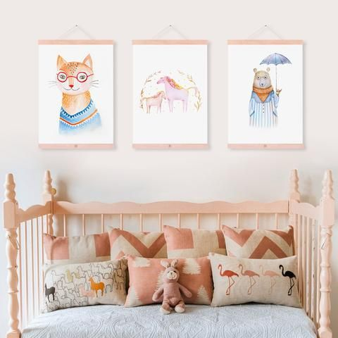 'Imaginarium'  Kids Canvas Art Prints is part of Kids Crafts Canvas Frames - Delight your child and spark their imagination with this incredibly dreamy set of artworks  Featuring a cheeky cat, two wistful horses and a bear set for a rainy day, the 'Imaginarium' canvas prints are a wonderful trio for your child's play space or bedroom  A beautiful example of watercolour illustration, these affordable prints are a sophisticated statement,reminiscentof the pages of a story book of old   These prints come unframed so you can get creative with how they would best compliment your space  Framed, stretched or hung like a scroll, these prints will look fabulous displayed individually and really pop as a complete set  Simply choose your print and the dimensions you would like and configure the perfect collection for your living space  Check out our full range of amazingCanvas Art Prints here  Each of these prints are sold separately and are available in these sizes 13x18cm 15x20cm 20x25cm 21x30cm 30x40cm 40x50cm 50x70cm 60x80cm 70x100cm MaterialCanvas MediumOil Spray Paint TypeCanvas Prints FrameUnframed