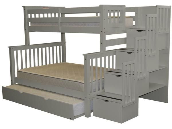 Bunk Beds Twin Over Full Stairway Gray Trundle Bunk Bed With