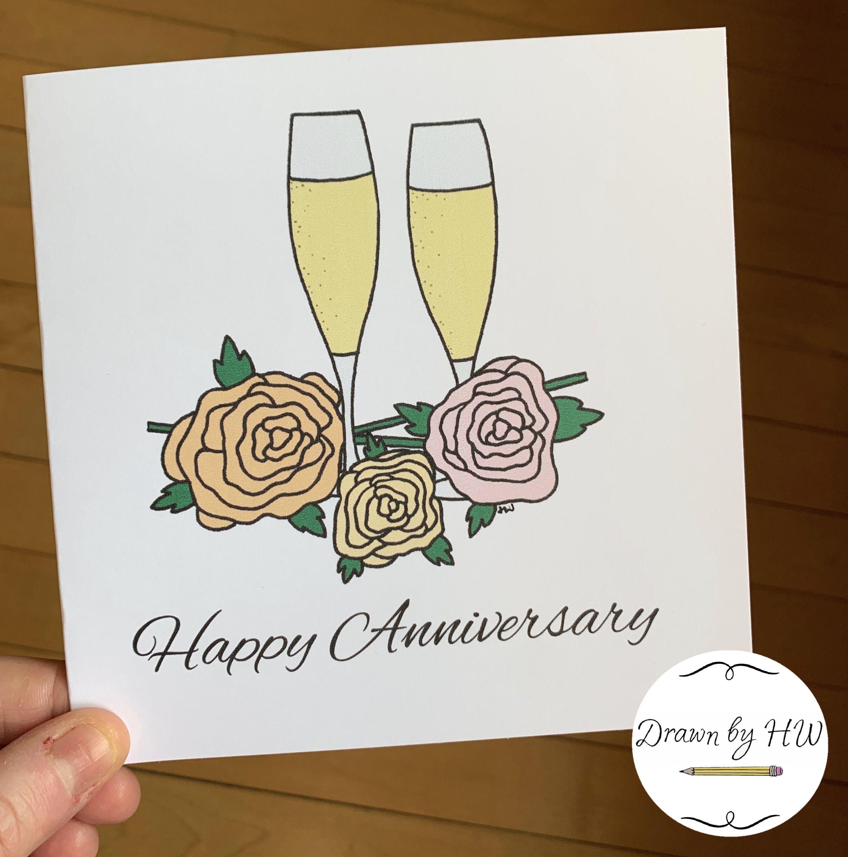 Champagne Glasses Anniversary Card Happy Anniversary Greetings Card Anniversary Greeting Cards Anniversary Greetings Greeting Card Shops