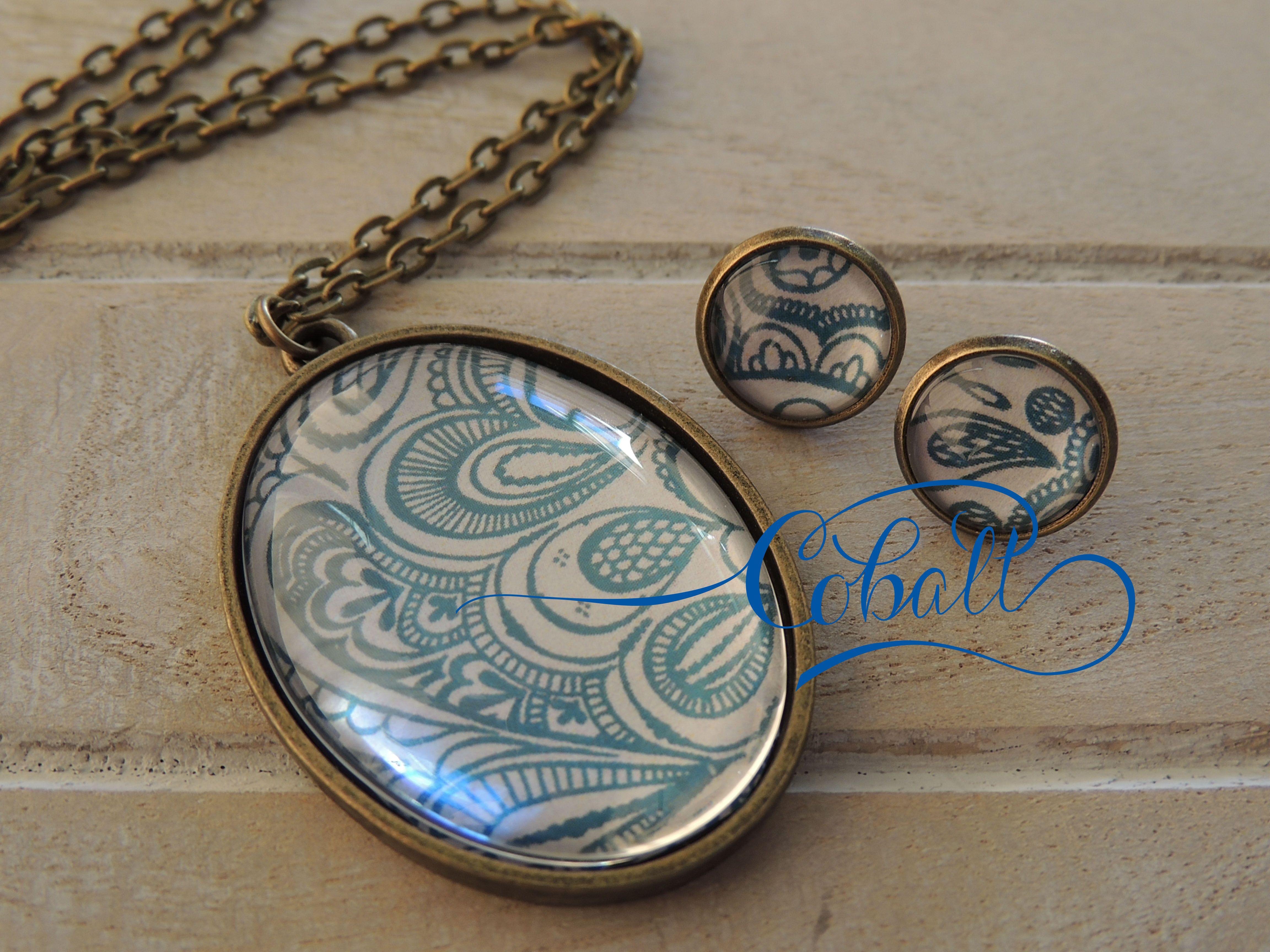 Cobalt Indigo Menhdi glass pendant / earring set