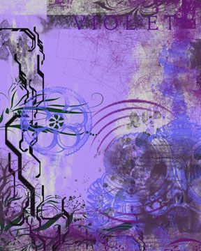 Violet Abstract Paintings Monochromatic Color Scheme