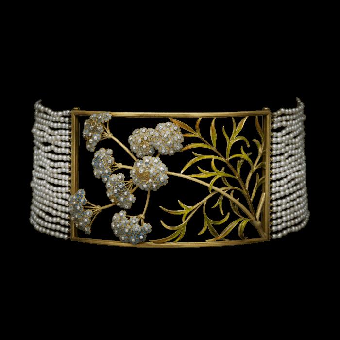 Umbel Choker. Maker:Henri Vever. Material:Gold, Enamel, Pearl