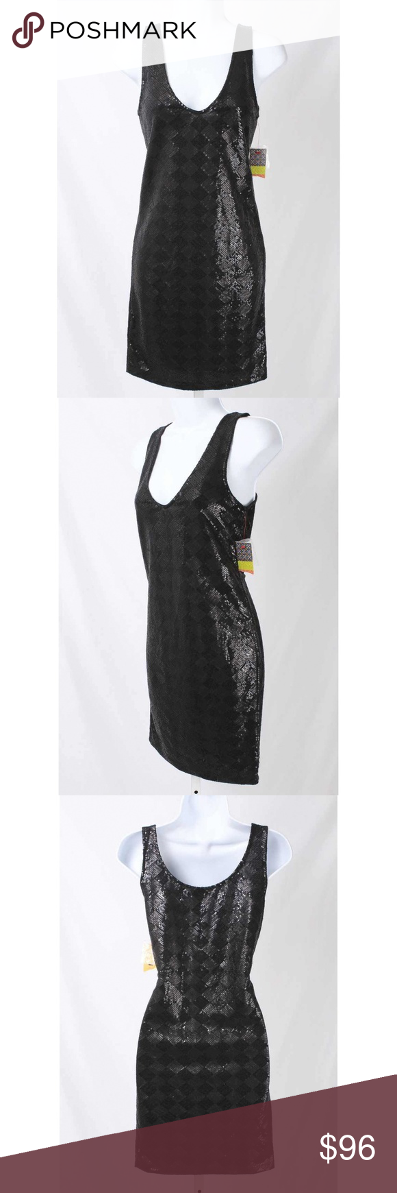Tory burch black diamond pattern sequin dress nwt nwt pinterest