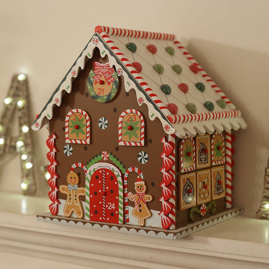 New Christmas Wooden Wood Advent Gingerbread House W Drawers New Christmas Gingerbread House Cardboard Gingerbread House Gingerbread House
