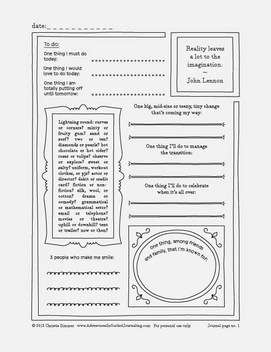 Adventures in Guided Journaling: Printable Guided Journal Pages -- Undated