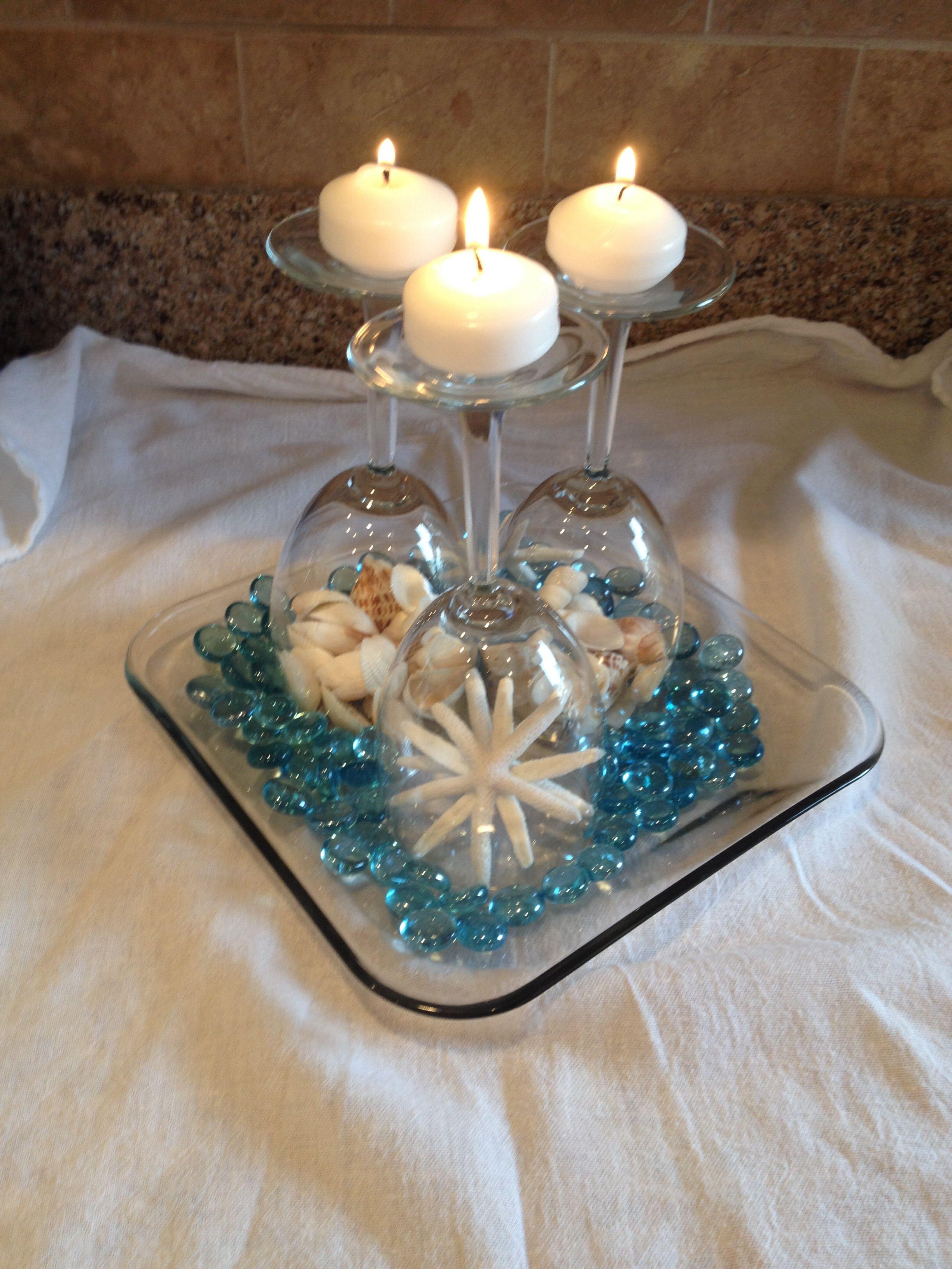 Wine glass beach wedding centerpiece Beach centerpieces
