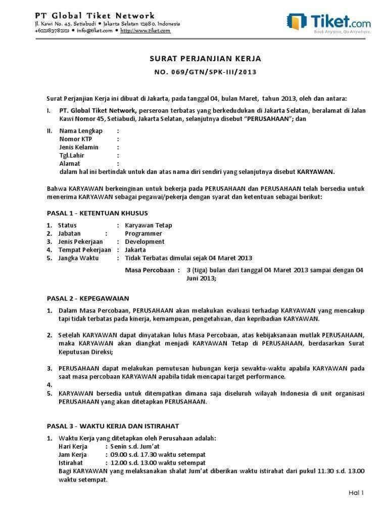 10 Contoh Kontrak Kerja Yang Baik Dan Benar Paling Komplit Surat Bulan Tanggal