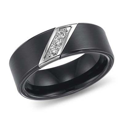 8mm Triton Black Tungsten Diamond Wedding Band 10 ct Ring