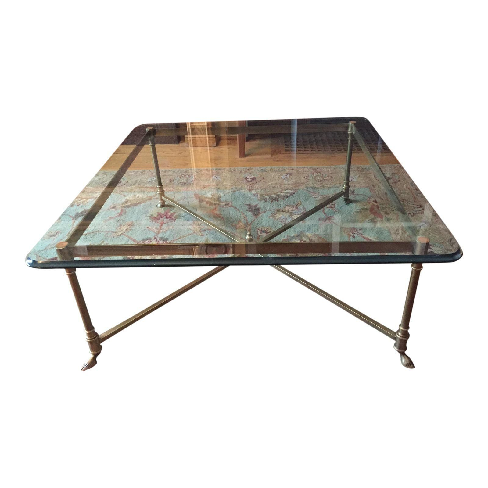 Labarge square brass hoof foot cocktail table squares square image of labarge square brass hoof foot cocktail table geotapseo Images