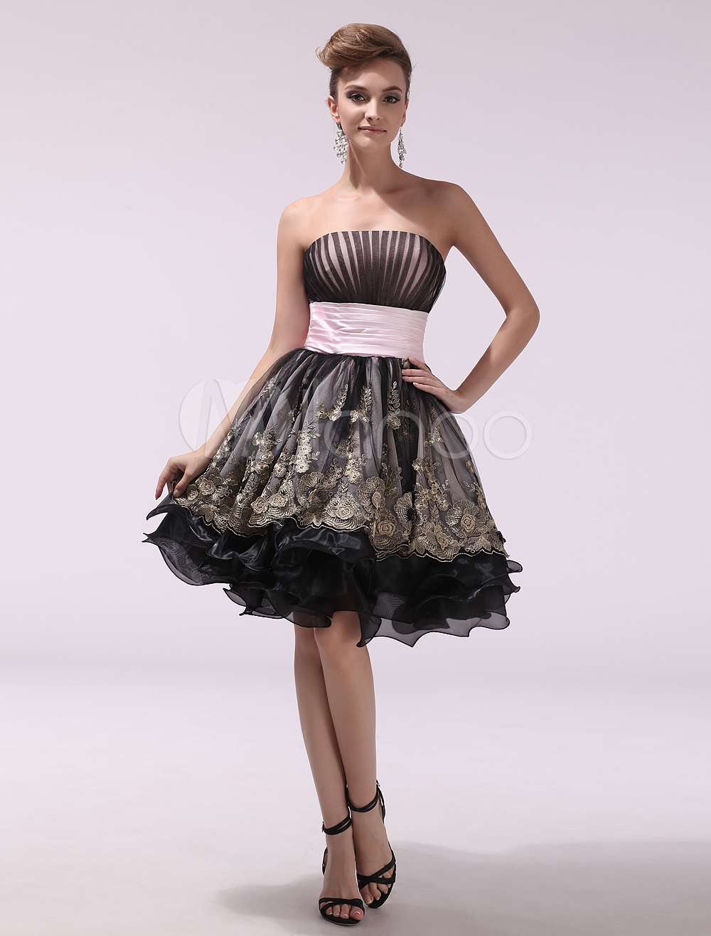 Black Strapless Sleeveless Pleated A-line Organza Prom Dress | Prom ...