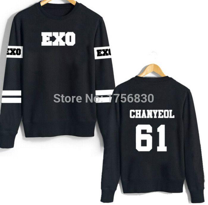 Cheap Exo k Hoodie Kpop hombres de la chaqueta de cuello redondo  Sweatershirt capucha EXO Kpop ceca3225556