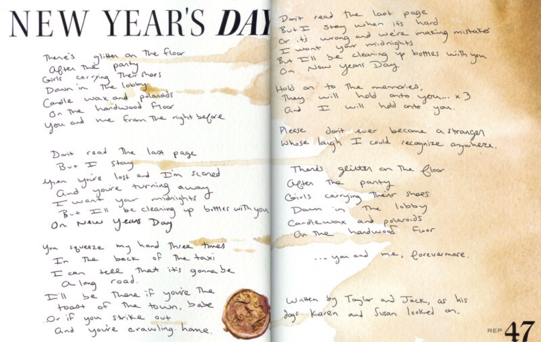 Taylor Swift New Year's Day Taylor swift lyrics
