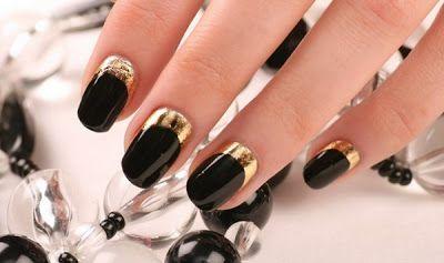 Uñas Negras Con Dorado Diseños Fantásticos Uñas Negras