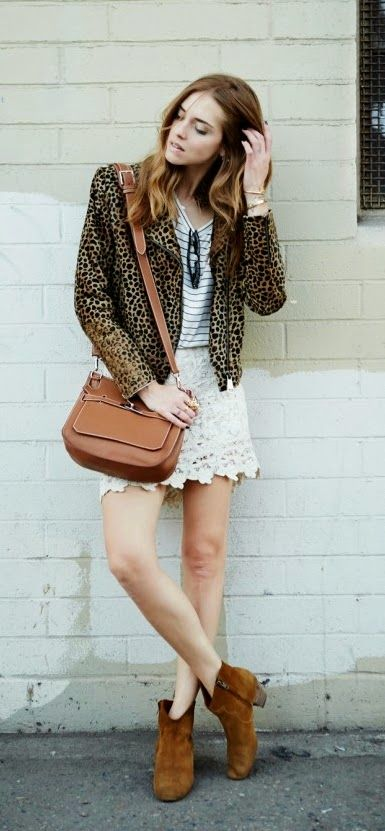 Lepord Jacket and Crochet Lace Skirt and Ankle Booties