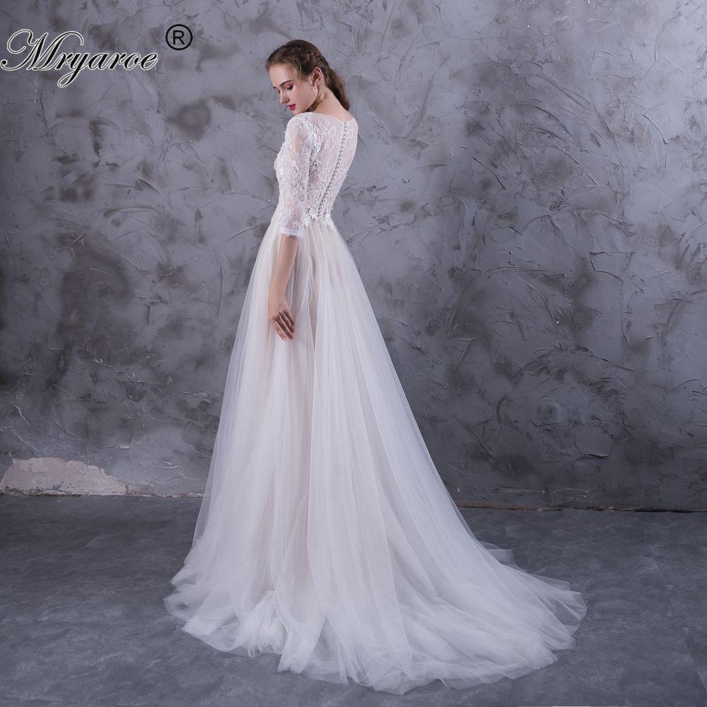 Mryarce lace sleeves boho wedding dress tulle a line appliqued