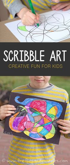 Scribble art is a fun, boredom busting, creative art activity for kids! Sponsored by #MrSketchScentedCrayons
