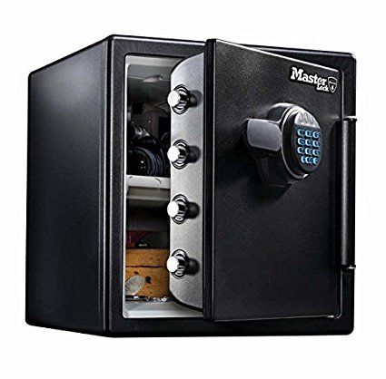 Master Lock LFW123FTC Cassaforte sicurezza a combinazione digitale ignifuga e a tenuta stagna  formato extra-large, Nero