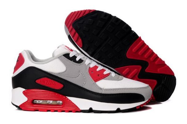 87061469443b Nike Air Max 90 Men s Running Shoe White Grey-Varsity Red Sale half off