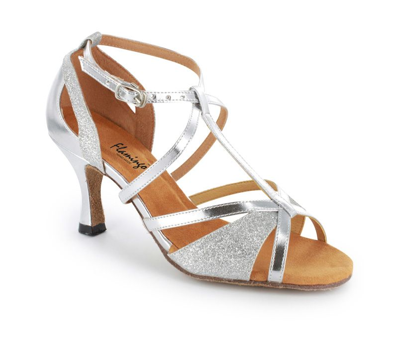 """Possible wedding ballroom dancing shoes.  Silver leather and sparkle, Size: 4-11 (US), Heel: 1.5-3.0""""Made to order, Ship in 17-24 Days"""
