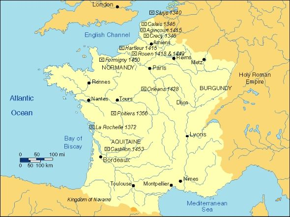 The Hundred Years War overivew map France to go with the