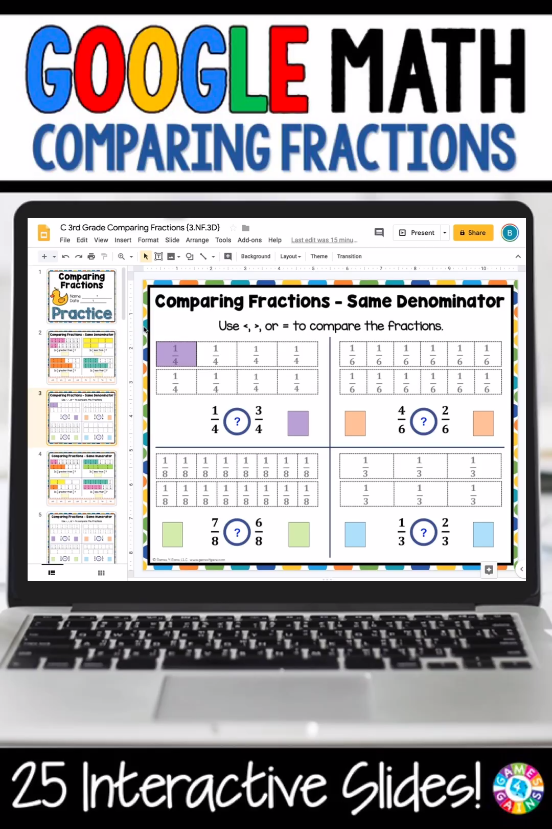 With this 3rd Grade Comparing Fractions {3.NF.3, 3.NF.3D} digital resource for Google Slides, your students will practice comparing fractions with like numerators or like denominators.