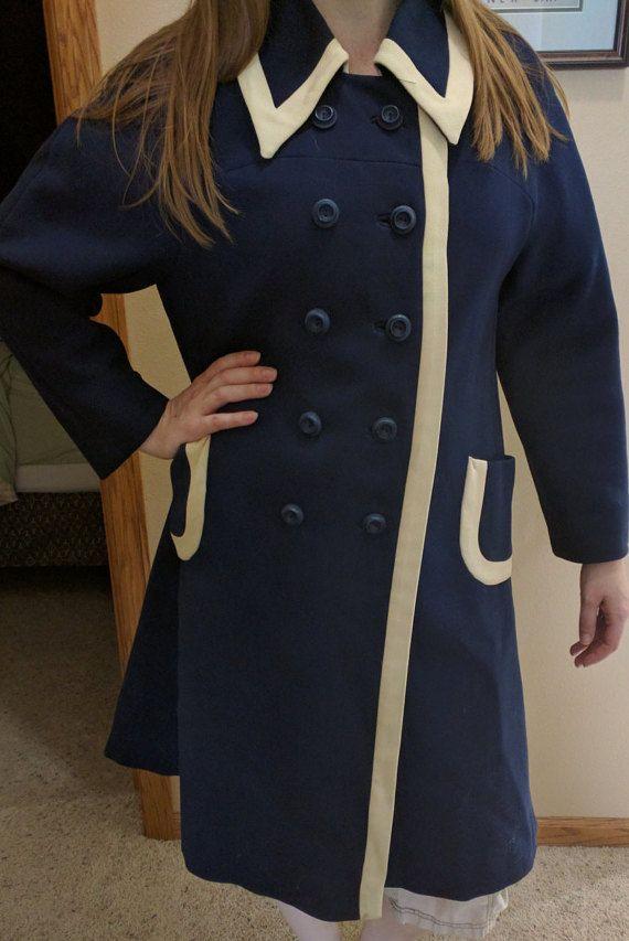 Vintage Long Dress Coat Women's Medium or Large Blue by RetroRindi
