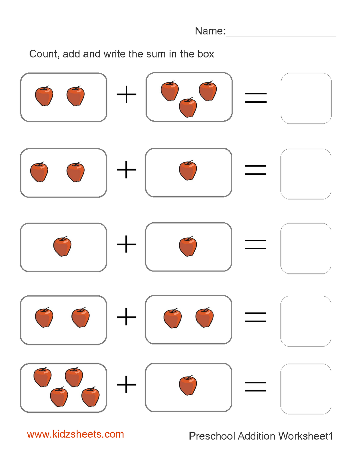 Adding One Printable Addition Worksheet for Kids – Picture Addition Worksheets