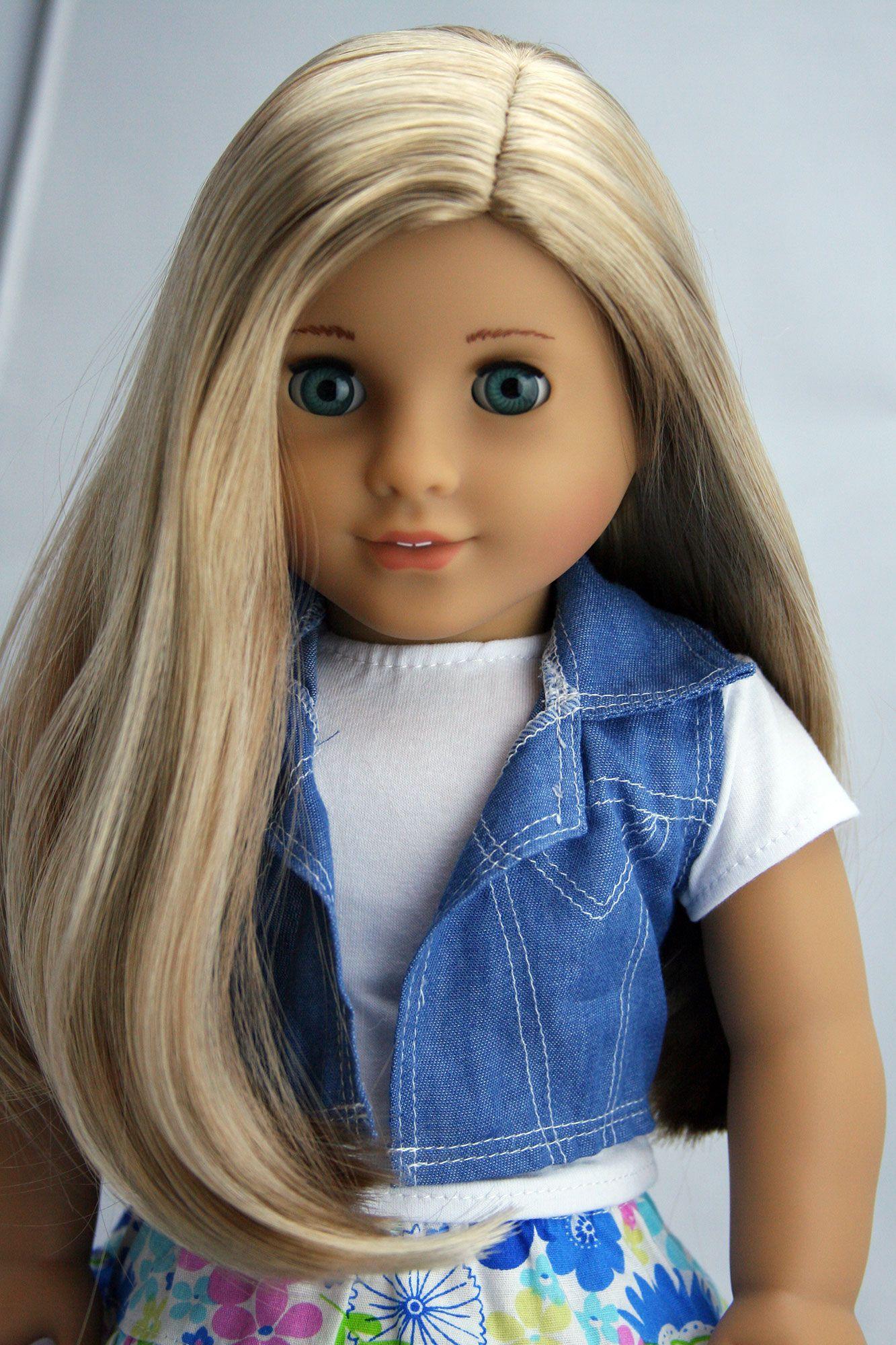 Custom american girl doll aqua blue eyes and blonde hair