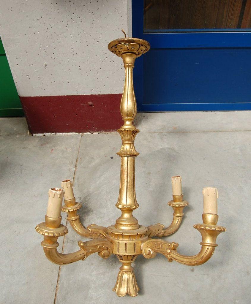 Lampadario in legno dorato a 4 fuochi in faggio inizio