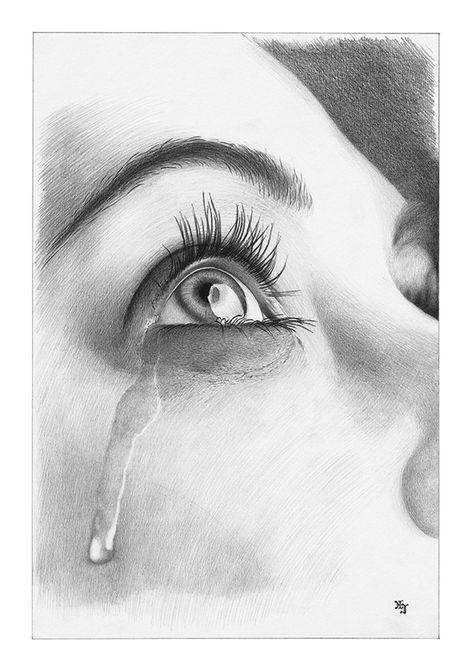 Bleistiftzeichnung Auge Träne DIN A4 von Josef Hinterseer   Zeichnen ...
