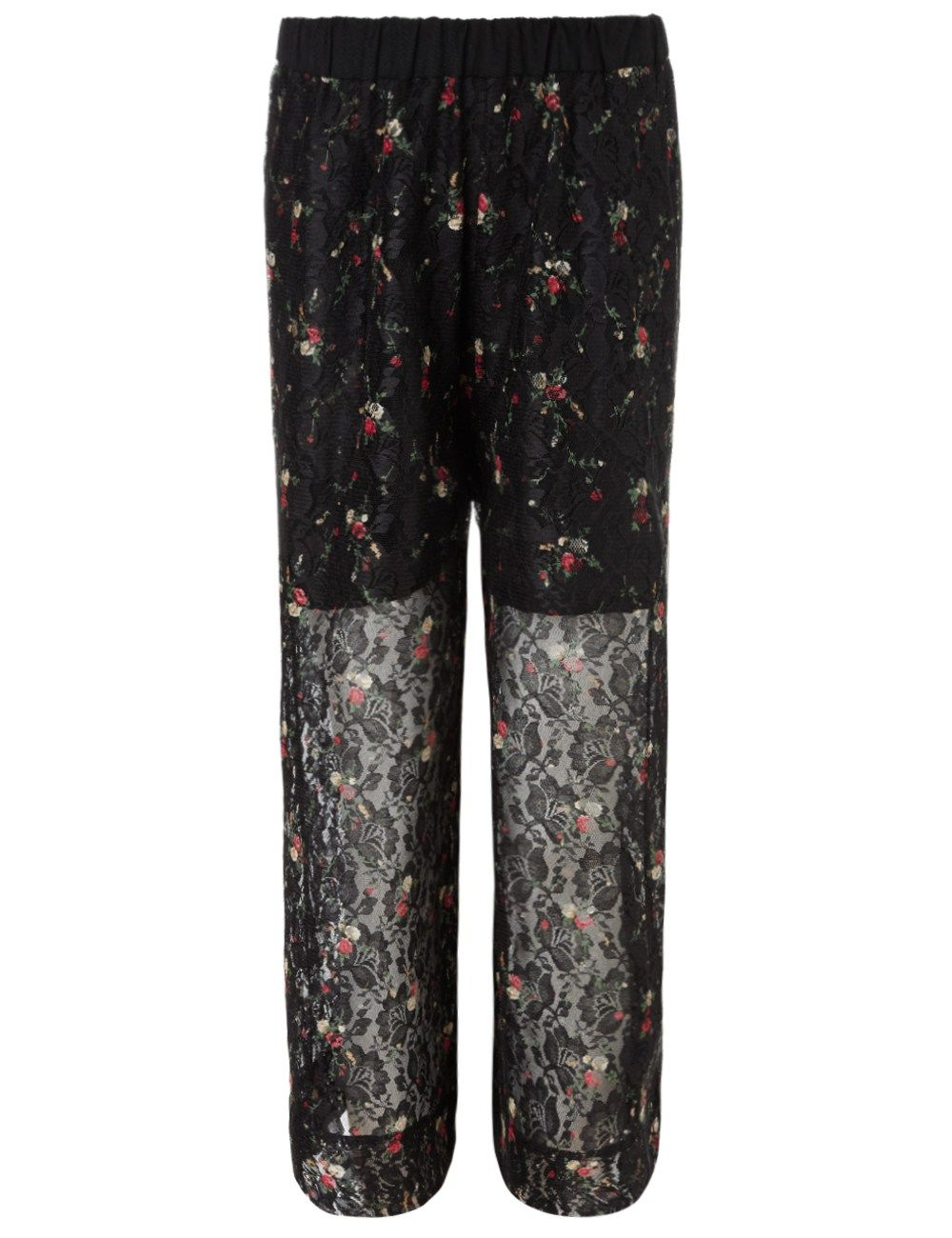 Black Lace Wide Leg Trousers | Antonio Marras | Avenue32