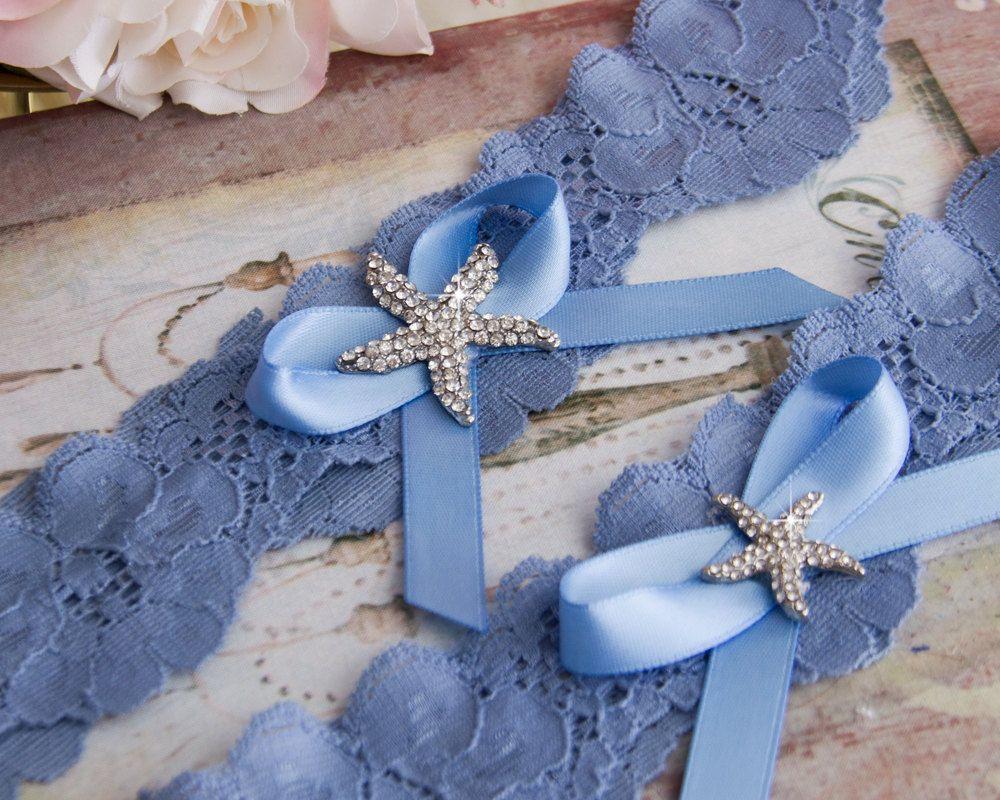 Beach Wedding Garter Set Something Blue Bridal Lace Starfish
