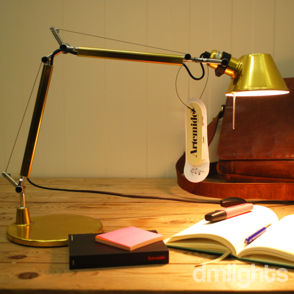 Artemide Tolomeo Micro Gold | Dmlights | Desk Lamp, Limited Available