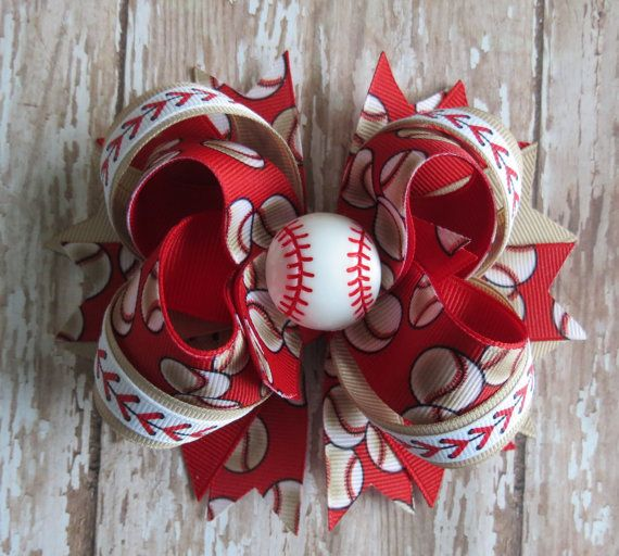 Baseball hair bow headband vintage-inspired by CicisBowBoutique