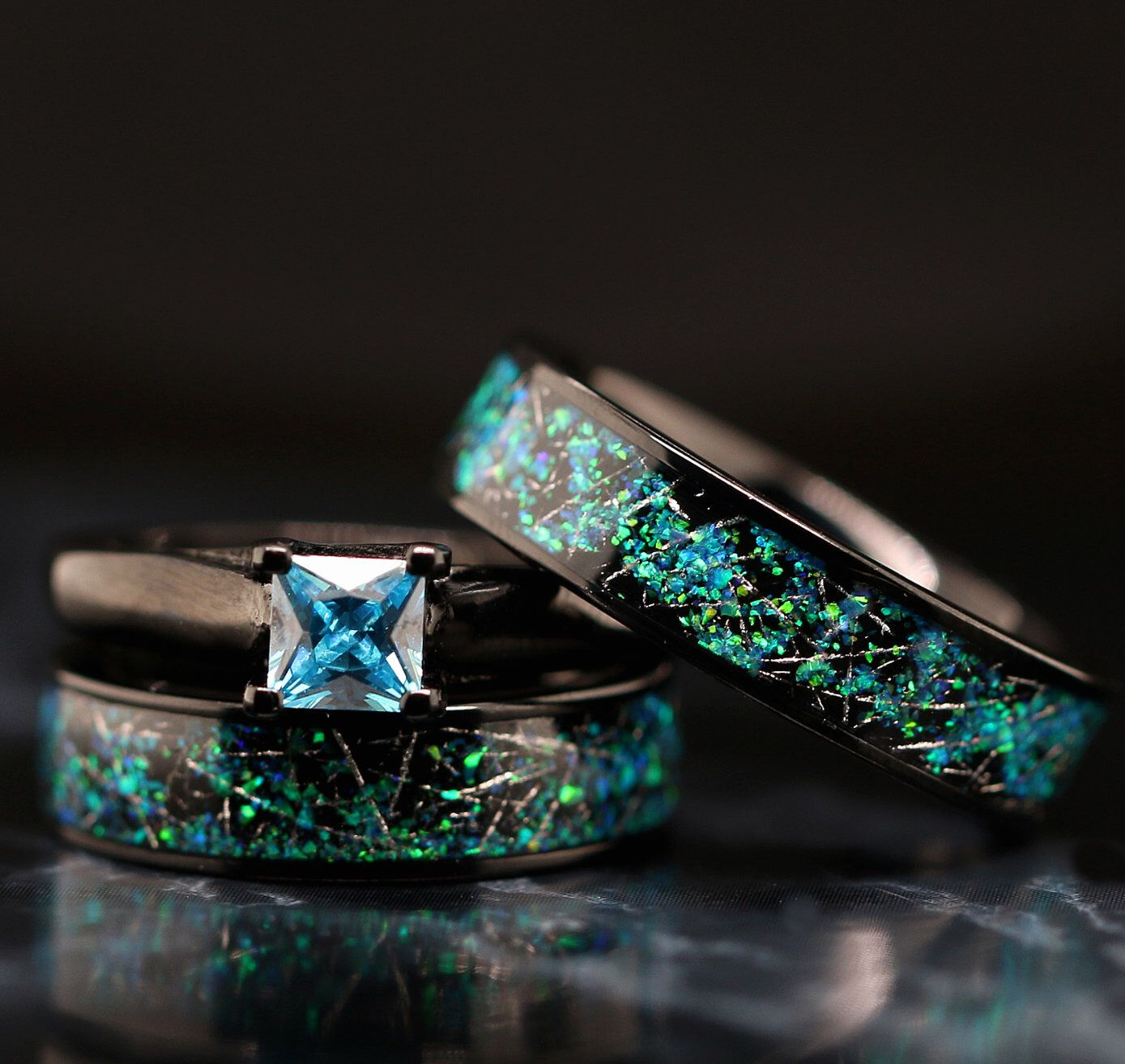 His and Her 3 piece Meteorite & Opal Ring Set Stainless