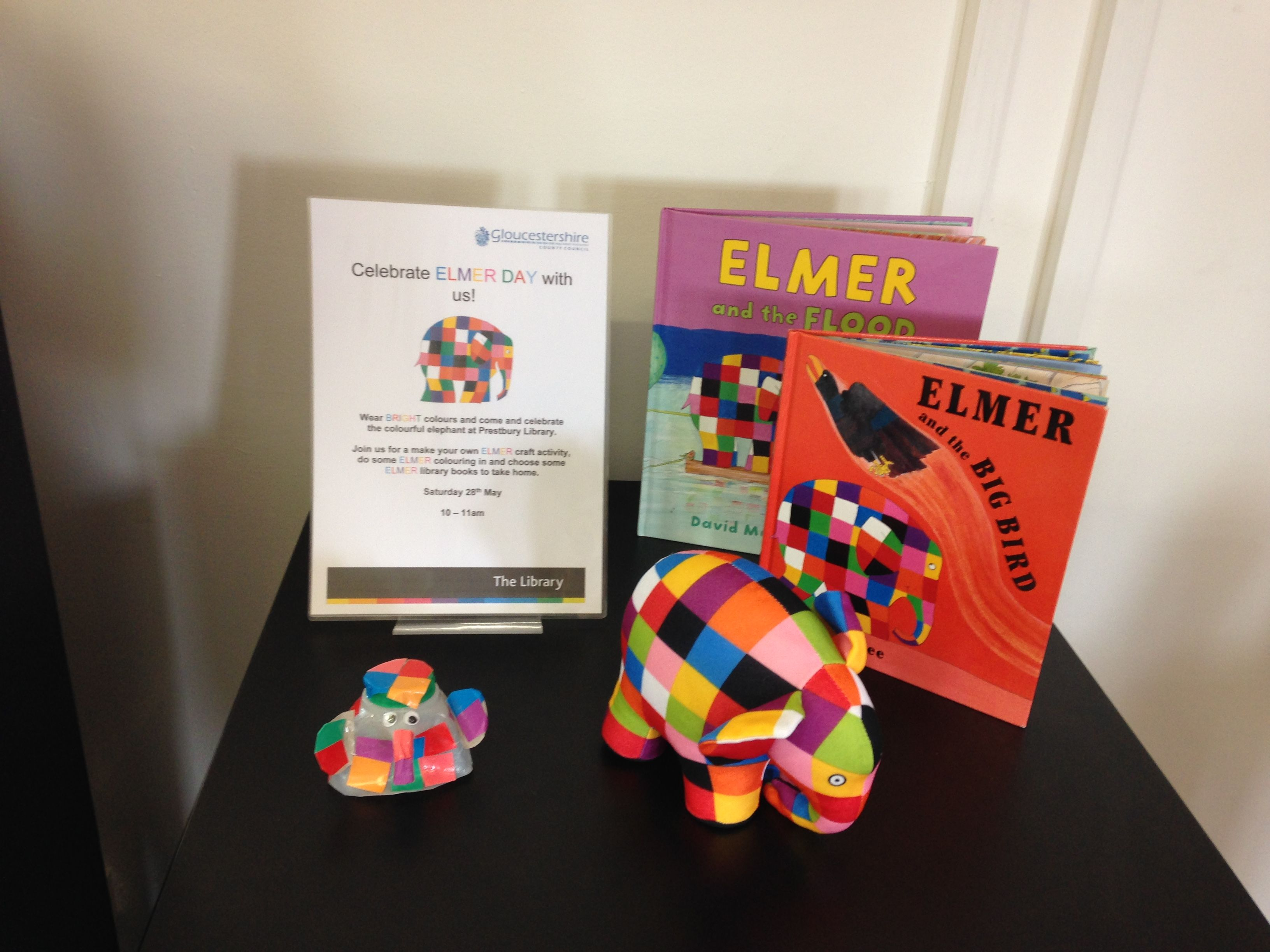 Prestbury library has an elmer event especially for elmer