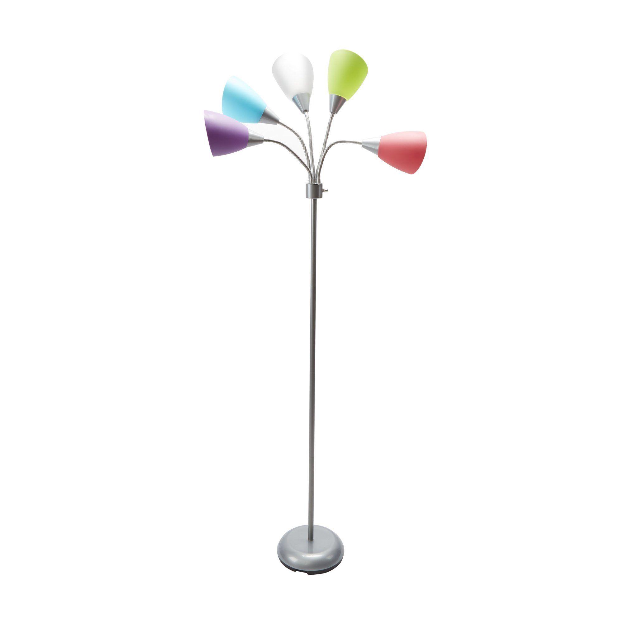 Mainstays 5 Light Multi Head Floor Lamp Silver With Multi Color Shade Walmart Com In 2021 5 Light Floor Lamp Floor Lamp Shades Floor Lights