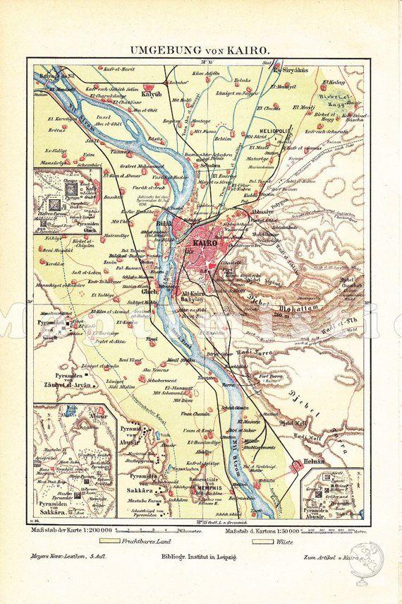 1895 Egypt, Giza Plateau with the Pyramids, Cairo, Sra and Abu ... on