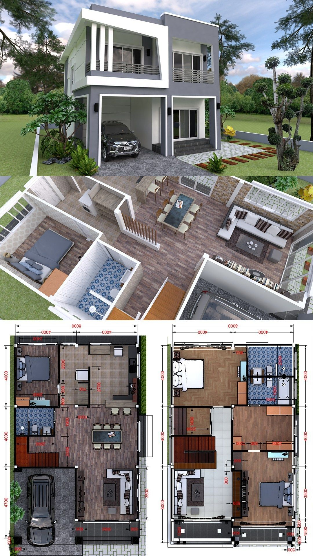 Plan 3d Interior Design Home Plan 8x13m Full Plan 3beds Samphoas Plansearch Duplex House Design Interior Design Plan House Plans